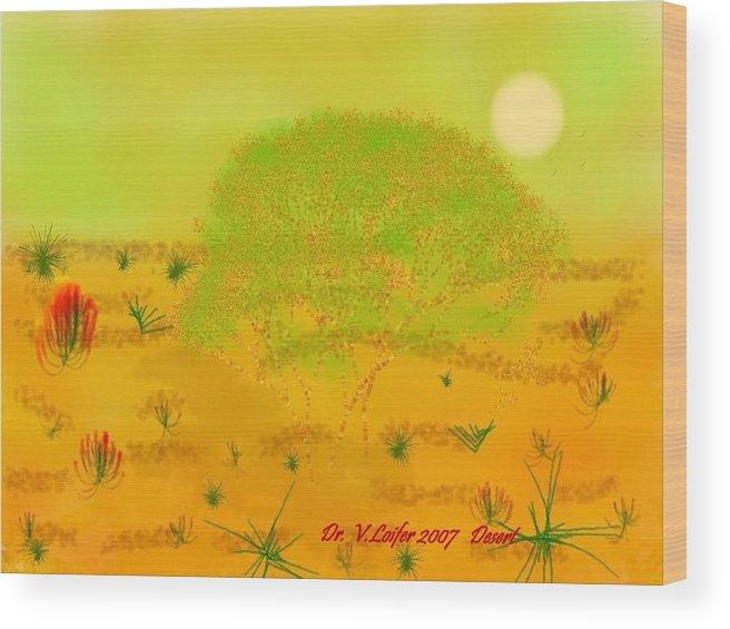 Sky.heat.dust.sun.desert.bush.sand.prickles. Sandy Dunes.rest.silence. Wood Print featuring the digital art Desert by Dr Loifer Vladimir