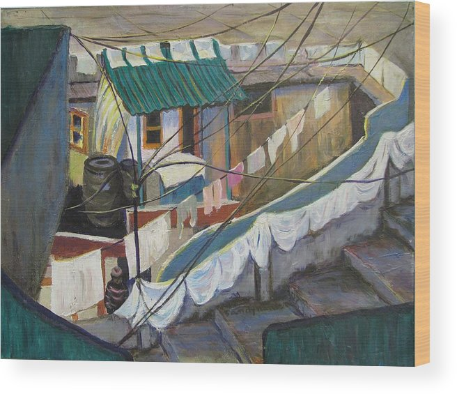 Landscape Wood Print featuring the painting Dhobi by Art Nomad Sandra Hansen