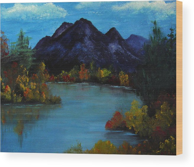 Mountain Wood Print featuring the painting Distant Mountain View by Rhonda Myers