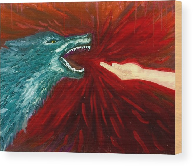 Wolf Wood Print featuring the painting Distortion by Amber Carter