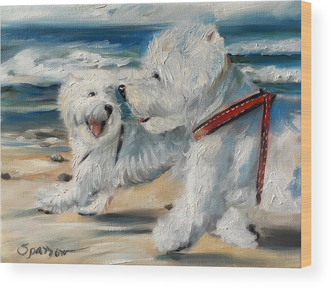 Dog Days Of Summer Wood Print featuring the painting Dog Days Of Summer by Mary Sparrow