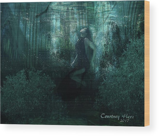 Photomanipulation Wood Print featuring the digital art Double Exposure by Courtney Herz