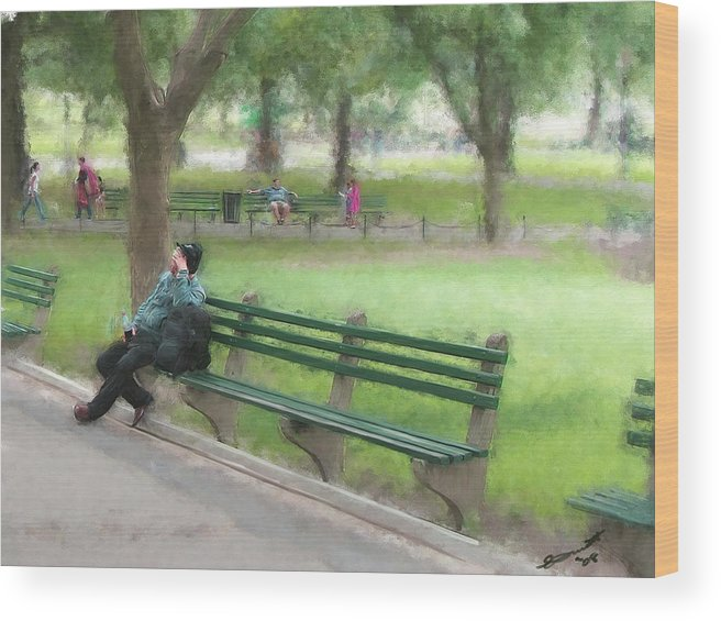 Boston Common Homeless Old Man Green Bench Park Wood Print featuring the painting Down But Not Out by Eddie Durrett