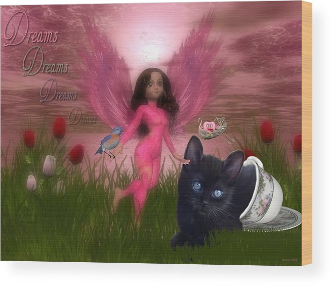Fairy Wood Print featuring the digital art Dreams by Morning Dew
