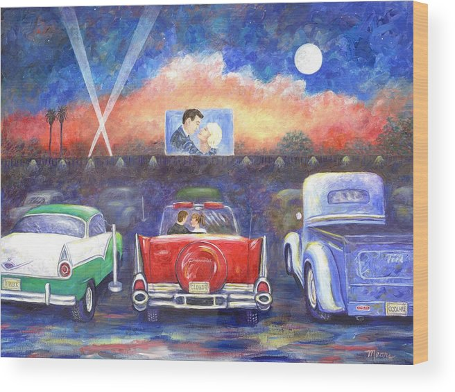 Cars Wood Print featuring the painting Drive-in Movie Theater by Linda Mears