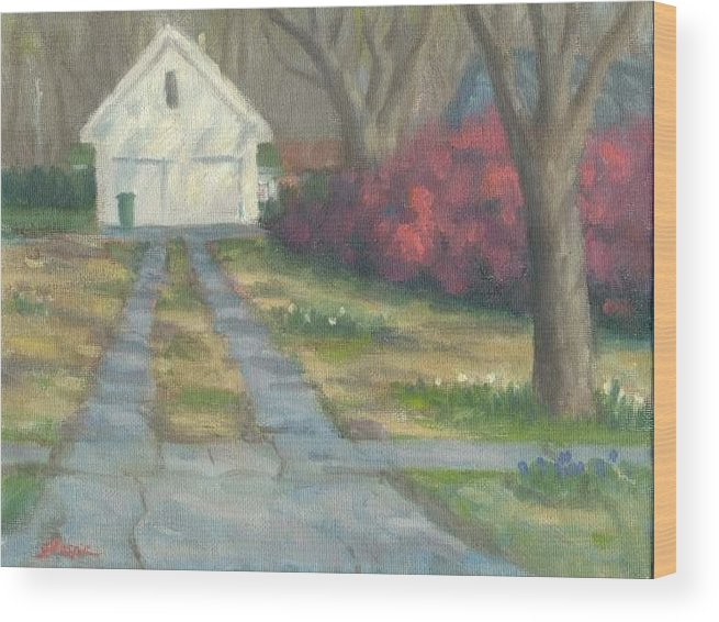 Landscape Wood Print featuring the painting Driveway by Michael Gillespie