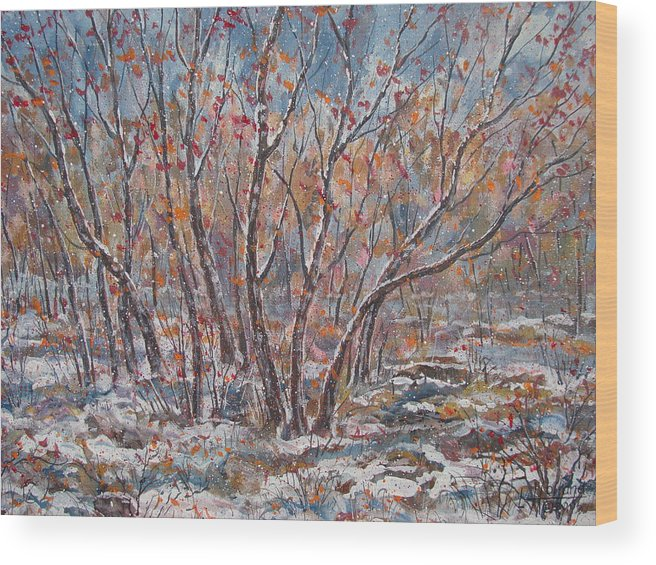 Landscape Wood Print featuring the painting Early Snow. by Leonard Holland