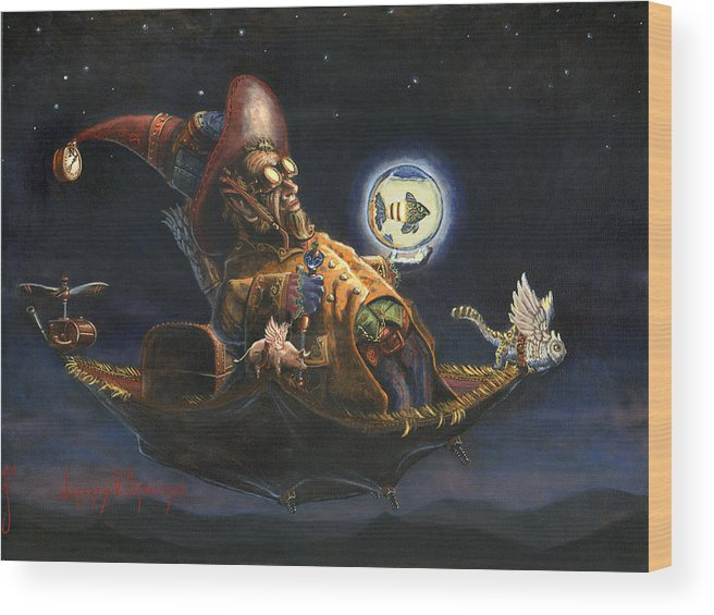 Wizard Wood Print featuring the painting Edwin And Norbert At It Again by Jeff Brimley