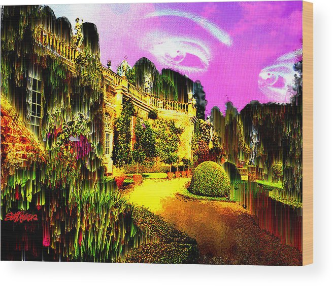 Mansion Wood Print featuring the digital art Eerie Estate by Seth Weaver