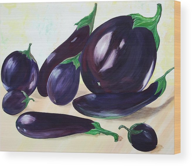 Vegetables Wood Print featuring the painting Eggplants by Murielle Hebert