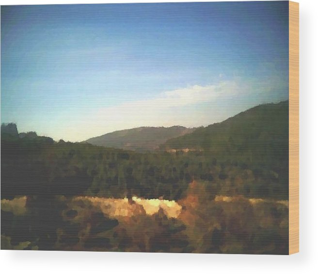 Sky.blue.little Clouds.foresty Hills.low Hills.forest.valley.trees.rest.silence.calm. Wood Print featuring the digital art Ein-kerem Valley by Dr Loifer Vladimir