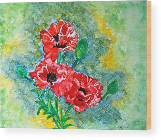 Poppies Flowers Red Yellow Green Blue Acrylic Watercolor Yupo Elegant Landscape Wood Print featuring the painting Elegant Poppies by Manjiri Kanvinde