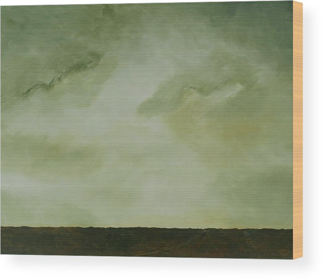 Original Acrylic Skyscape Wood Print featuring the painting Emerald by Sharon Steinhaus