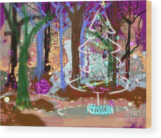 #holiday Scene #christmas Tree #enchanted Forest #digital Painting Wood Print featuring the digital art Enchanted Christmas Forest by Mary Jane Mulholland