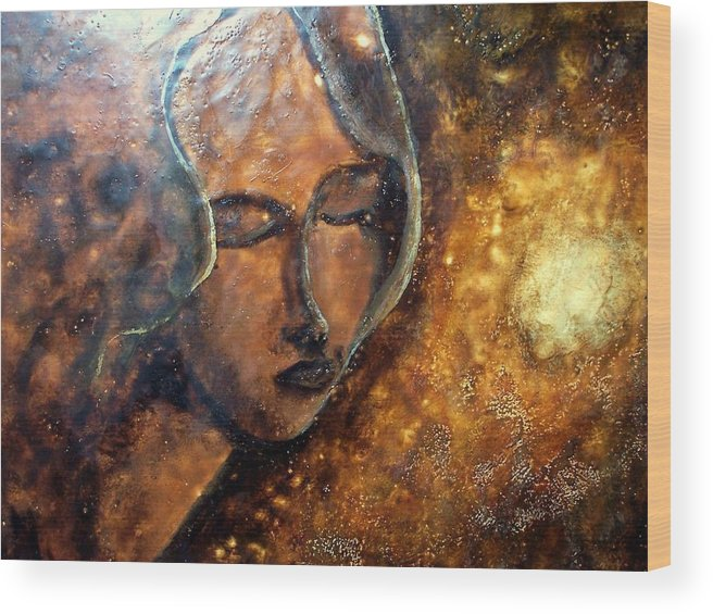 Portrait Wood Print featuring the painting Enlightenment by Karla Phlypo-Price