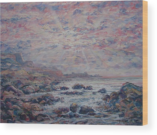 Seascape Wood Print featuring the painting Evening At The Beach by Leonard Holland