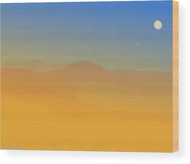 Landscape Wood Print featuring the painting Evening Haze by Margot Paisley