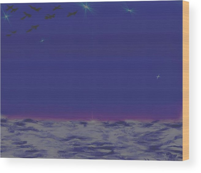 Late Evening.violet Dark Sky.rest.little Stars.last Ray Of Sun.sea.waves.silence. Birds.quiet. Wood Print featuring the digital art Evening.birds by Dr Loifer Vladimir