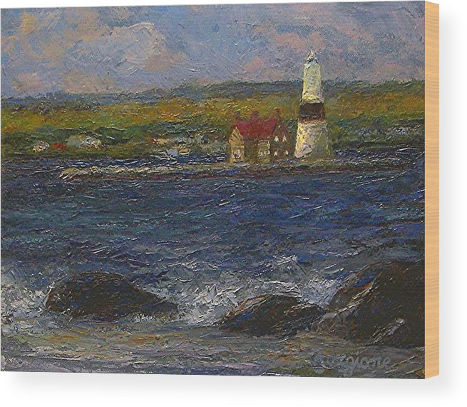 Lighthouse Wood Print featuring the painting Execution Lighthouse by Tom Forgione