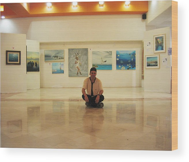 Wood Print featuring the photograph Exhibition Pza. Pelicanos by Angel Ortiz