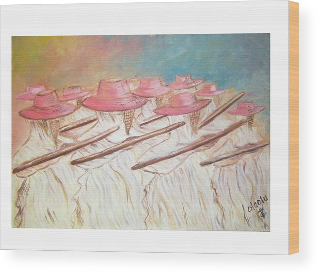 Abstract Wood Print featuring the painting Eyo Festival by Olaoluwa Smith