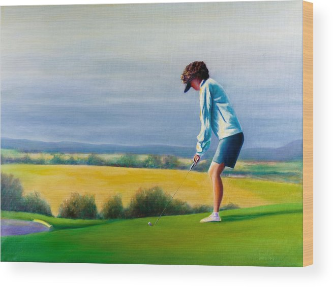 Golfer Wood Print featuring the painting Fairy Golf Mother by Shannon Grissom