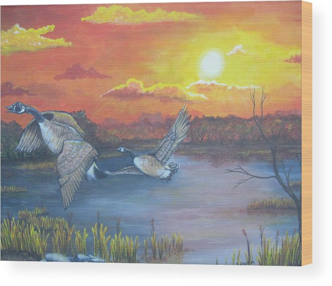 Landscape Wildlife Ducks Sunset Wood Print featuring the painting Fall And Flight by Sandra Garben