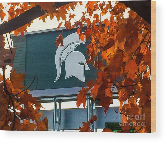 Msu Wood Print featuring the photograph Fall Is Football by Joseph Yarbrough