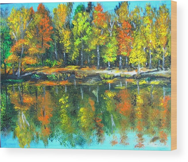 Fall Wood Print featuring the painting Fall Landscape Acrylic Painting Framed by Natalja Picugina