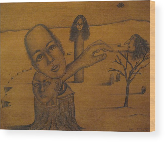 Family Wood Print featuring the drawing Family Tree by Larry Whitler