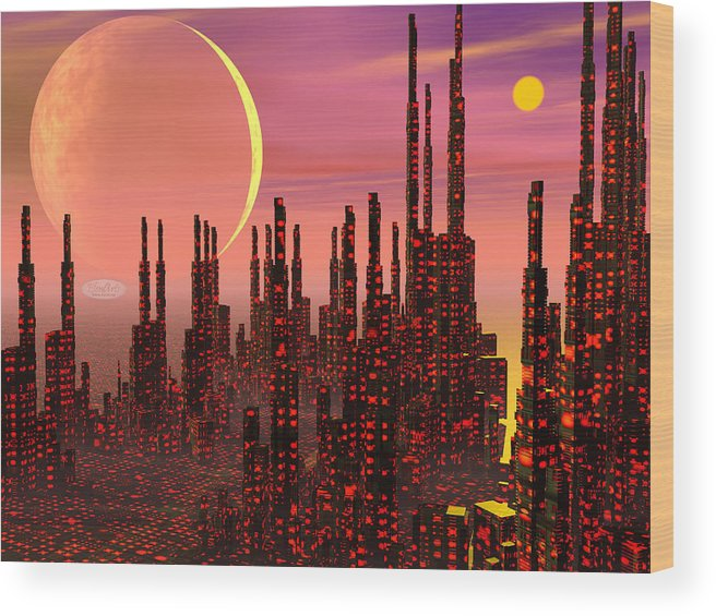 Alien Wood Print featuring the digital art Fantasy City - 3d Render by Elenarts - Elena Duvernay Digital Art