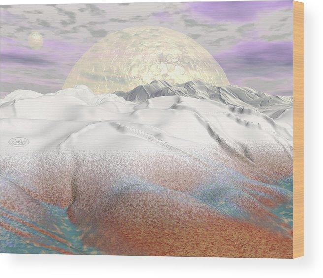 Alien Wood Print featuring the digital art Fantasy Winter Landscape - 3d Render by Elenarts - Elena Duvernay Digital Art