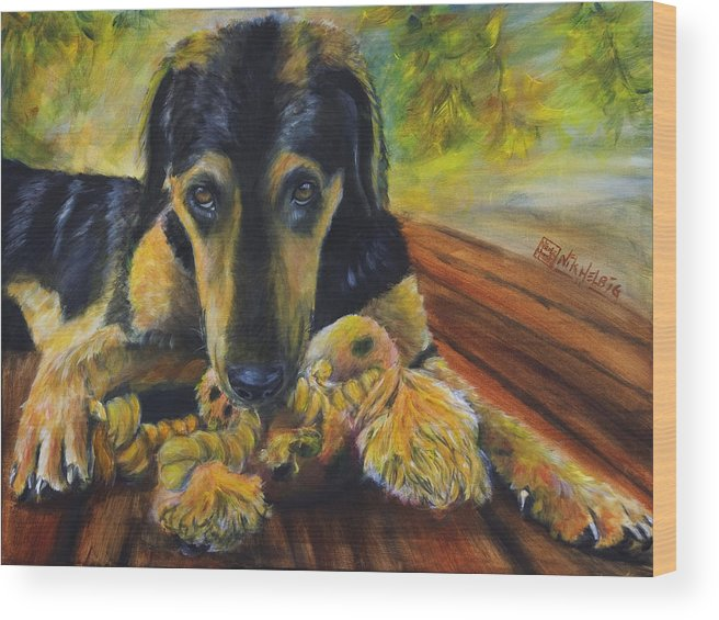 Dog Wood Print featuring the painting Favorite Things by Nik Helbig