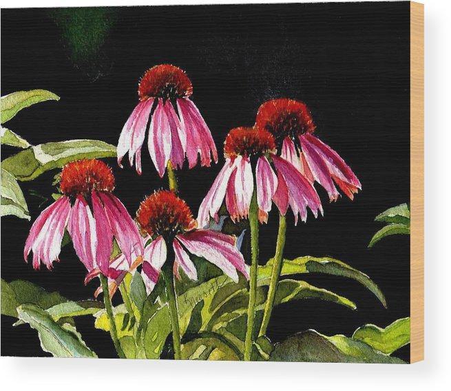 Watercolor Wood Print featuring the painting Favour by Kathy Nesseth