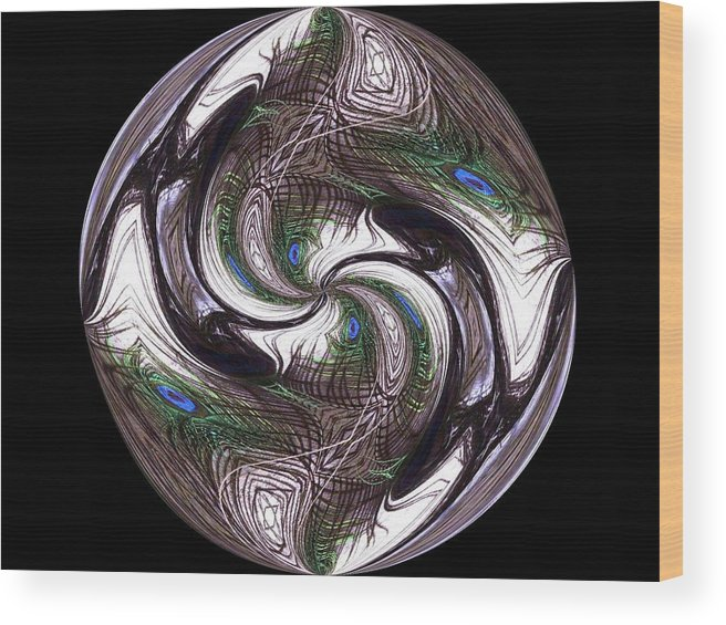 Abstract Wood Print featuring the digital art Featherly Globe by Yvette Pichette