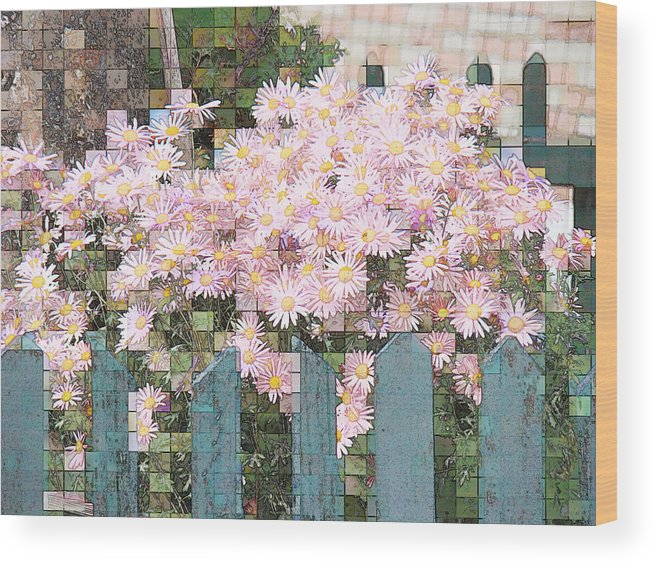 Photgraph Wood Print featuring the photograph Fenced Mosaic by Tingy Wende