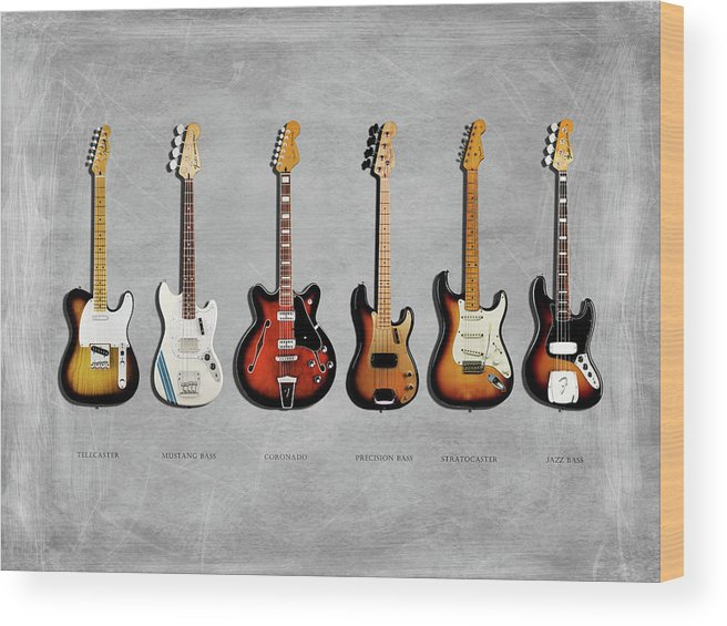 Fender Stratocaster Wood Print featuring the photograph Fender Guitar Collection by Mark Rogan