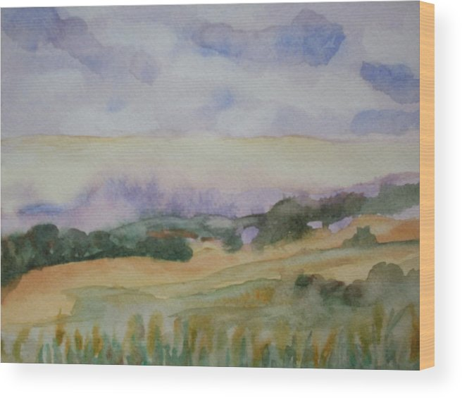 Watercolor Landscape Wood Print featuring the painting Field And Sky 1 by Warren Thompson