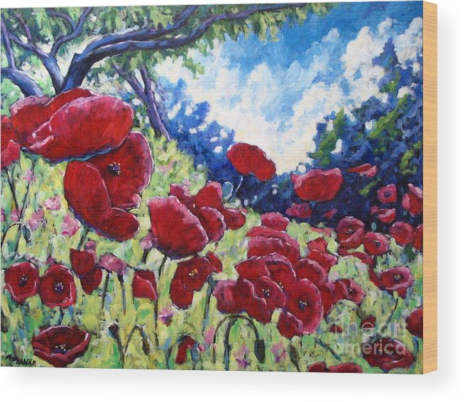 Poppies Wood Print featuring the painting Field Of Poppies 02 by Richard T Pranke