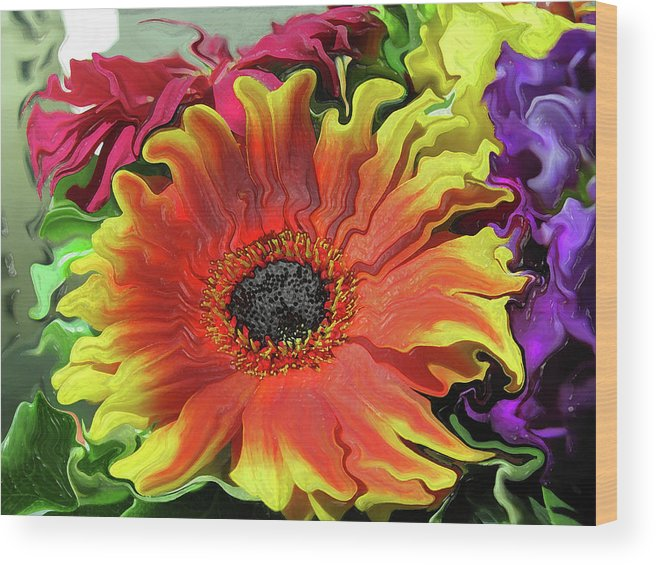 Abstract Wood Print featuring the photograph Floral Fiesta by Kathy Moll