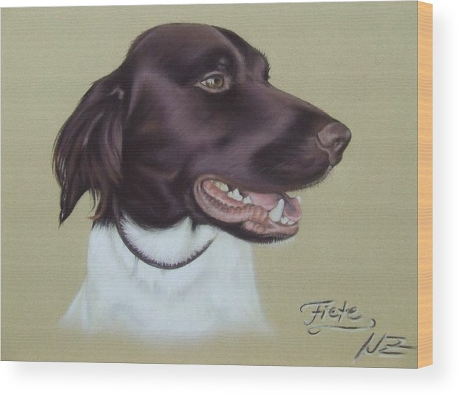 Dog Wood Print featuring the pastel Fiete by Nicole Zeug
