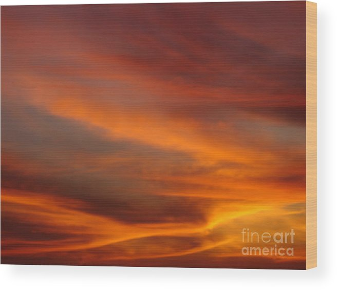 Sunsets Wood Print featuring the photograph Fire In The Sky 1 by Chad Natti