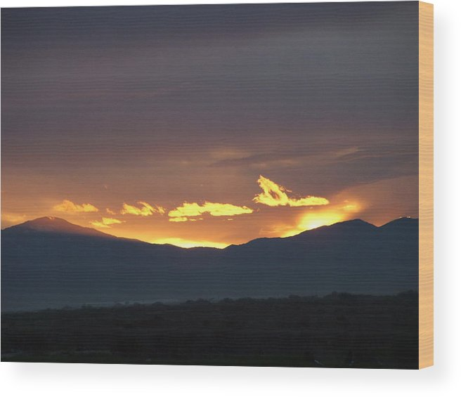 Sunset Wood Print featuring the photograph Fire In The Sky by Shari Chavira