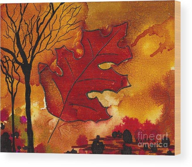 Fire Wood Print featuring the painting Firestorm by Susan Kubes