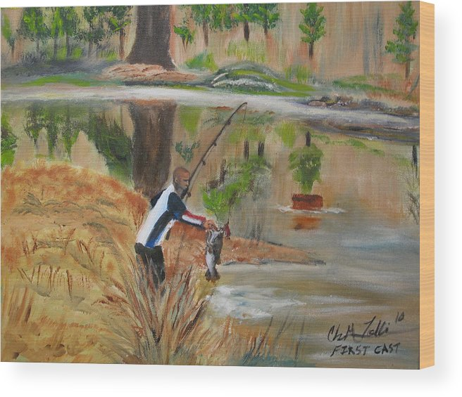 Fishing Abstract Oil Painting Wood Print featuring the painting First Cast by ChrisMoses Tolliver