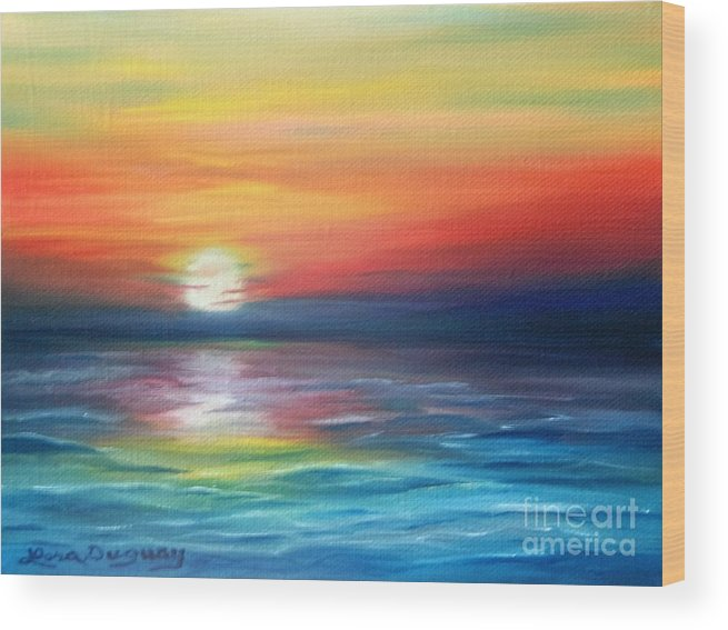 Sunrise Wood Print featuring the painting First Light by Lora Duguay
