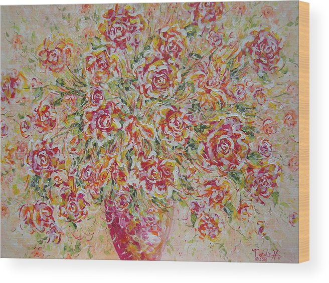 Flowers. Floral Wood Print featuring the painting First Love Flowers by Natalie Holland