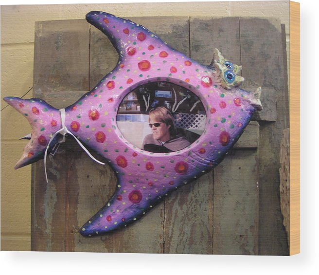 Frame Wood Print featuring the sculpture Fish Frame Sold by Dan Townsend