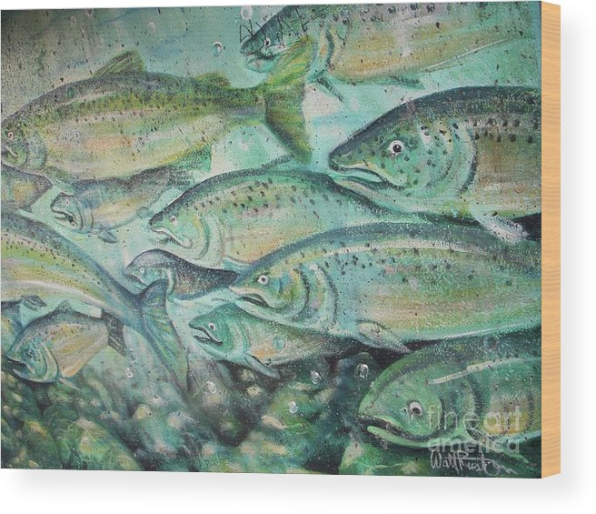 Fish Wood Print featuring the photograph Fish On The Wall by Vesna Antic