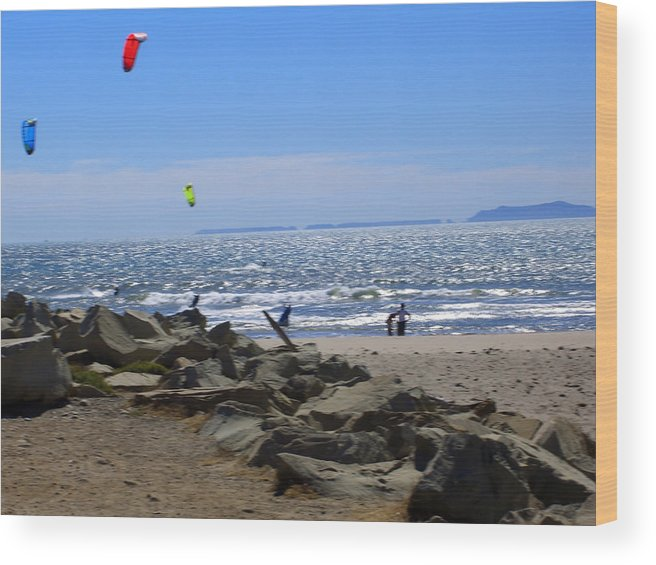 Beach Wood Print featuring the photograph Flies In The Sky 2 by Robin Hernandez